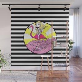 Surfer Flamingo Wall Mural