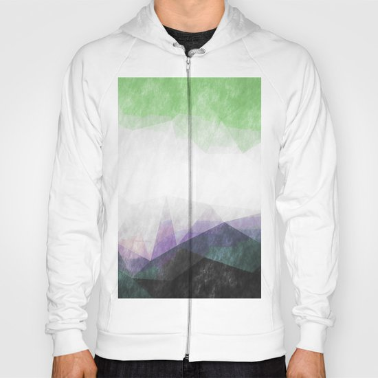 On the mountains- green watercolor - triangle pattern Hoody
