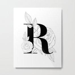 Monogram Letter R with Rose Line Art  Metal Print