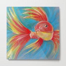 Colorful fish in aquarium drawing by pastel Metal Print