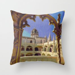 Mosteiro dos Jeronimos, Belem Throw Pillow