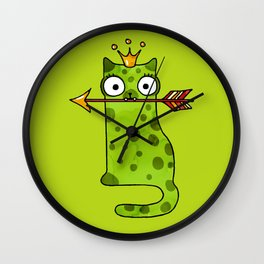 Green princess frog cat from a fairy tale is waiting for love Wall Clock
