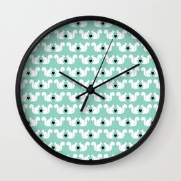 Squirrels pattern print designs minimal mint dots pastel pattern cell phone gift ideas nature  Wall Clock