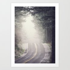 Fog Forest - Vintage Wanderlust Snow Mountain Road Trip Art Print