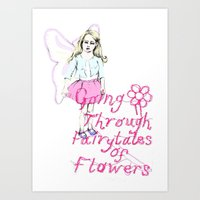 Going Through Fairytales of Flowers Portrait Art Print