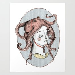 The Girl with an Octopus Hat Art Print