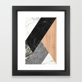 Marble and Wood Abstract Framed Art Print