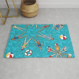Aqua Girls & Water Swirls Rug