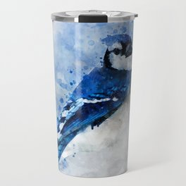 Watercolour blue jay bird Travel Mug