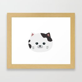 White Cat with spotted fur Framed Art Print