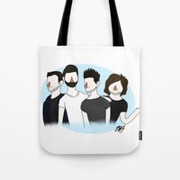 bastille Tote Bags featuring Bastille v2 by Eriboo