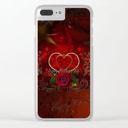 Happy mother's day with heart and roses Clear iPhone Case