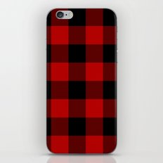 Red and Black Buffalo Plaid iPhone Skin