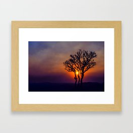 A Sunset Silhouette in Hampi, India Framed Art Print