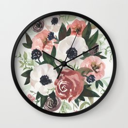 Anemone Berry Watercolor Bouquet Wall Clock
