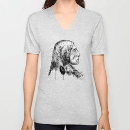 Native American Side Face Black and White Unisex V-Neck