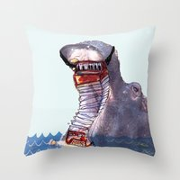 hippo Throw Pillows featuring Hippo by MGNFQ