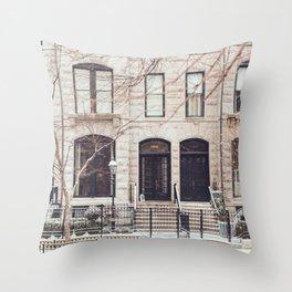 Chicago Snow Day in Neutrals Throw Pillow