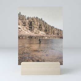 Fly Fishing Man in River in Colorado Mini Art Print