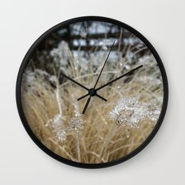 Icicles on Ornamental Grass, No. 1 Wall Clock