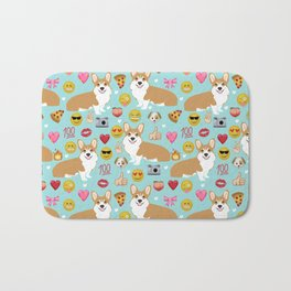 Corgis emoji pattern cute welsh corgis gifts for pure breed dog lovers Bath Mat