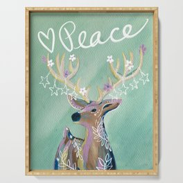 Peace - Holiday starry deer Serving Tray
