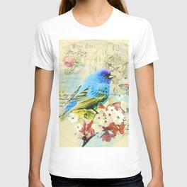 Vintage illustration with bird and butterfly T-shirt