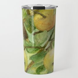 Bird in Apple Tree with Apples - Watercolor on Panel - Laurie Rohner Travel Mug
