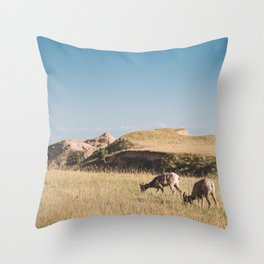 Bighorn Sheep in the Badlands Throw Pillow