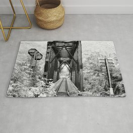 Railway Bridge Black and White Photographic Print Rug