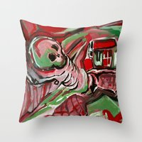 skeleton Throw Pillows featuring Skeleton by Helen Syron