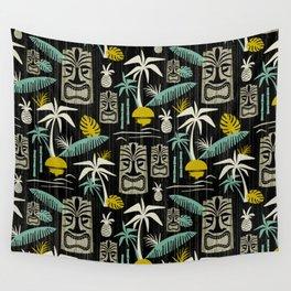 Island Tiki - Black Wall Tapestry