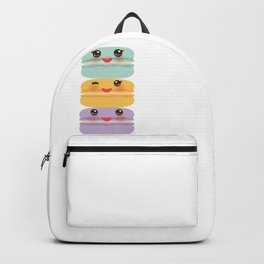 Kawaii macaroon funny orange blue lilac cookie with pink cheeks with pink cheeks and big eyes Backpack