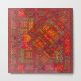 Rose vintage textile patches 02 Metal Print