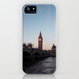 Big Ben, Westminster Bridge at sunrise iPhone Case