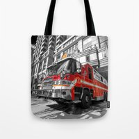 truck Tote Bags featuring Fire Truck  by Rob Hawkins Photography