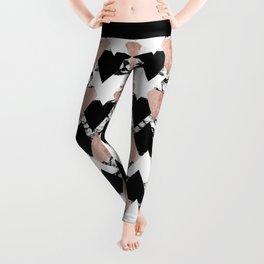Modern Black White Rose Gold Triangles on Marble Leggings
