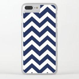 Space cadet - blue color - Zigzag Chevron Pattern Clear iPhone Case