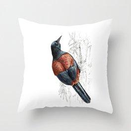 Mr Tieke , New Zealand Saddleback bird Throw Pillow