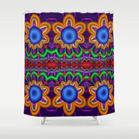 funky Shower Curtains featuring Funky Flowers by thea walstra