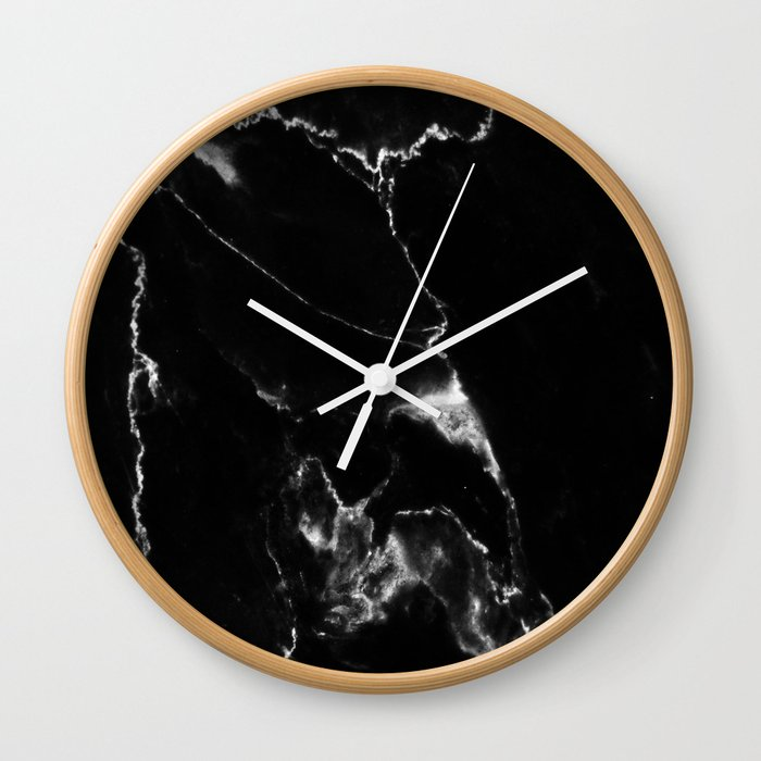 Black Marble I Wall Clock By Theaestate Society6
