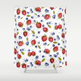 Strawberry, Blueberry, Mint Shower Curtain
