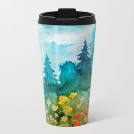 Watercolor Flower Spring Landscape Travel Mug