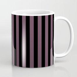 Eggplant Violet and Black Vertical Stripes Coffee Mug