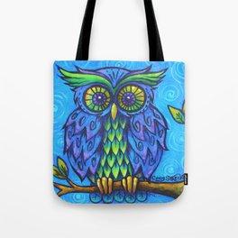 Owl in Blue Tote Bag