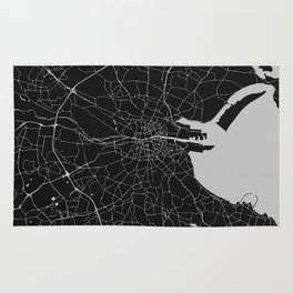 Black on Light Gray Dublin Street Map Rug