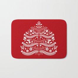 Scandinavian Folk Art Christmas Tree Bath Mat