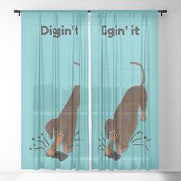 Diggin' it (Brown and Teal) Sheer Curtain