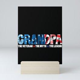 Mens Grandpa The Veteran The Myth The Legend Gift for Dads Premium design Mini Art Print