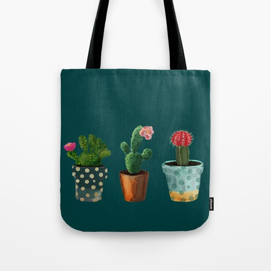 Three Cacti With Flowers On Green Background Tote Bag